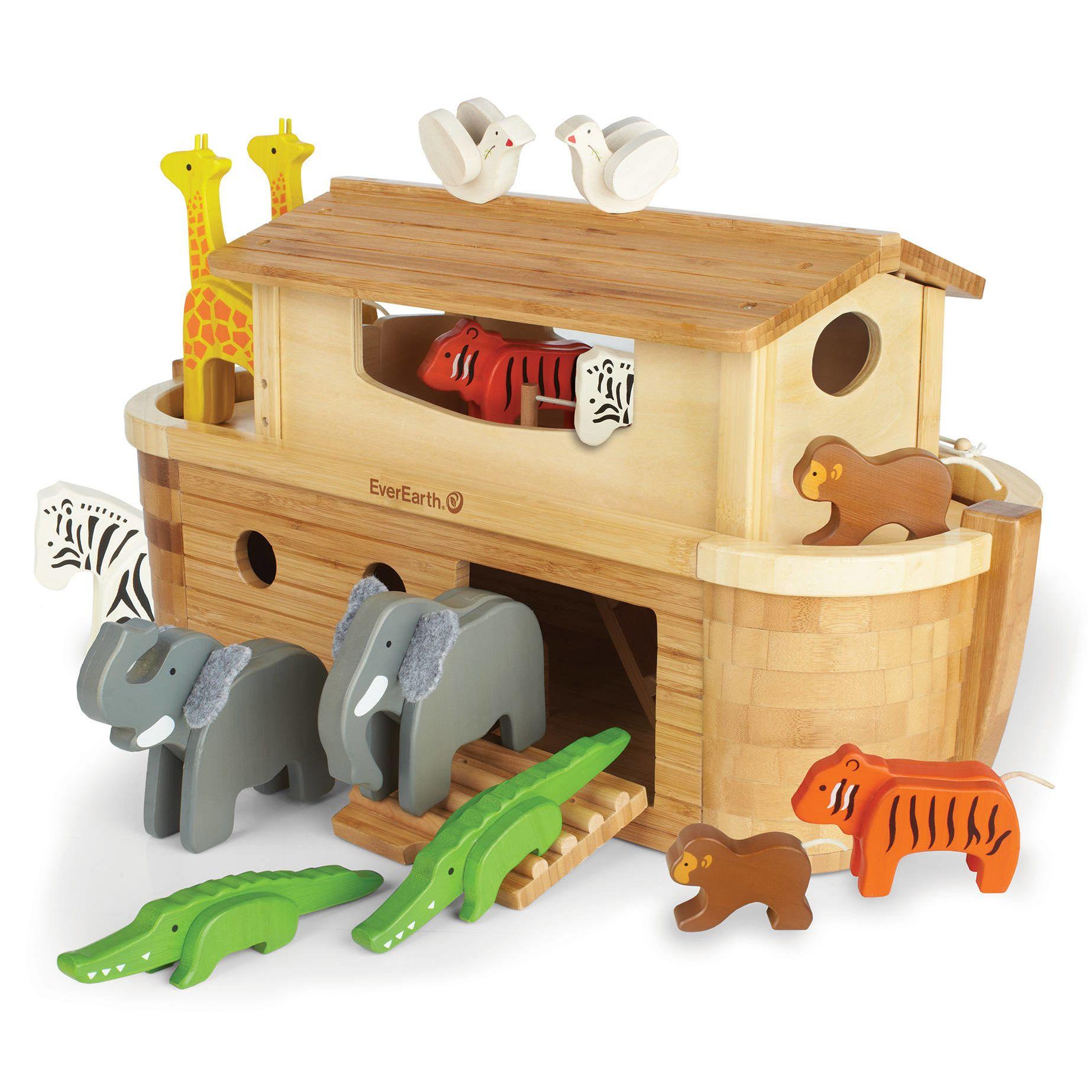 babys kinder spielzeug f r kinder holzspielzeug arche noah aus holz und bambus mit 14. Black Bedroom Furniture Sets. Home Design Ideas