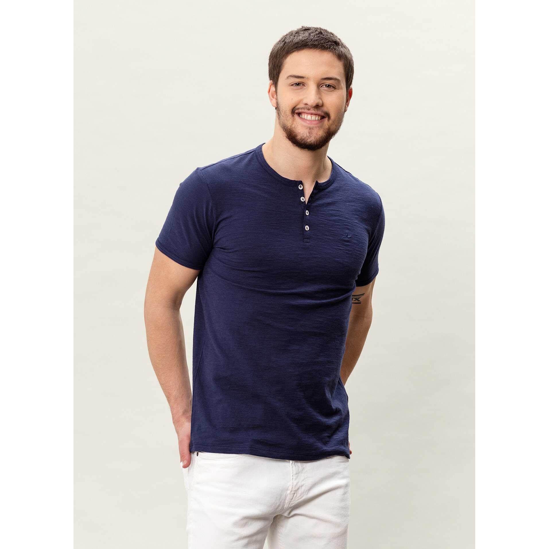 Herrenmode  Shirts  Herren Henley T shirt   navy