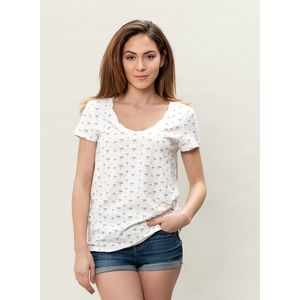 Damen Allover Druck T-Shirt - offwhite