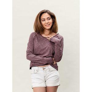 Damen Gestreifter L/S T-Shirt - burgundy/navy/white