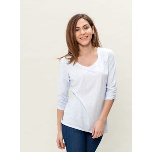 Damen Garment Dyed 3/4 Arm T-Shirt - ice blue