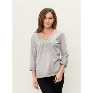 Damen Garment Dyed 3/4 Arm T-Shirt - grey