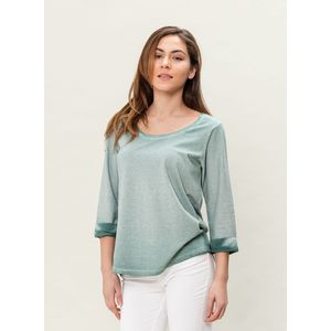 Damen Garment Dyed 3/4 Arm T-Shirt - moss green