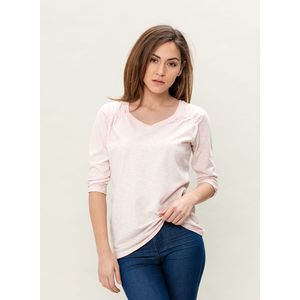 Damen Garment Dyed 3/4 Arm T-Shirt - powder pink