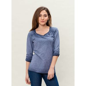 Damen Garment Dyed 3/4 Arm T-Shirt - indigo