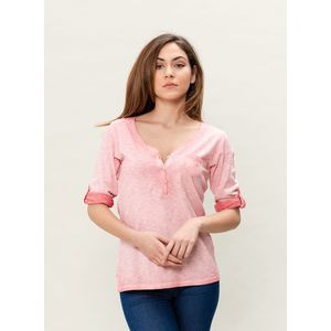 Damen Garment Dyed 3/4 Arm T-Shirt - peachy