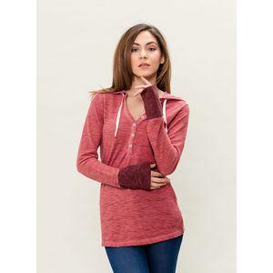 Damen Garment Dyed Langarm Kapuzenshirt - burgundy