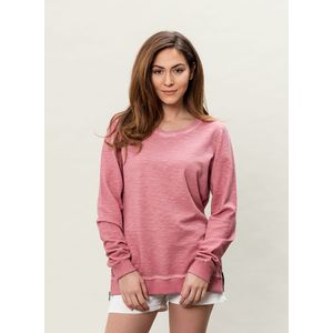 Damen Garment Dyed Sweatshirt - burgundy
