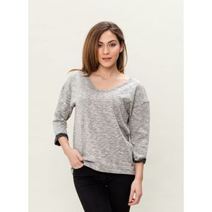Damen 3/4 Arm Sweatshirt - black/grey