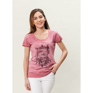 Damen Garment Dyed T-Shirt - burgundy