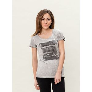Damen Garment Dyed T-Shirt - grey