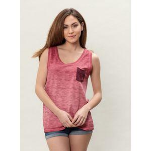 Damen Garment Dyed Tanktop - burgundy