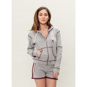 Damen Sweatjacke - grey/burgundy