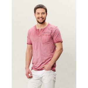 Herren Garment Dyed Henley T-shirt mit Brusttasche - burgundy