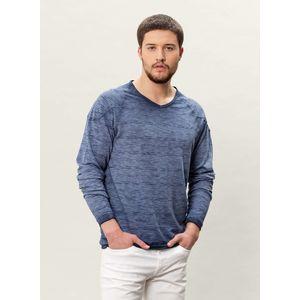 Herren Garment Dyed Langarm T-Shirt - indigo
