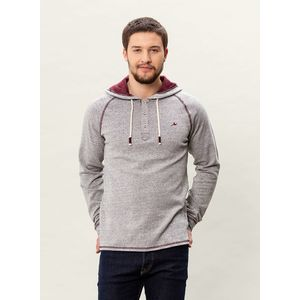 Herren Garn Gefärbter Hoodie Sweater - burgundy/grey