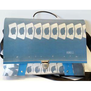 Laptoptasche - blaugrau mit Muster