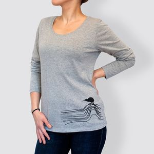 Frauen Langarm-T-Shirt, Heather Grey