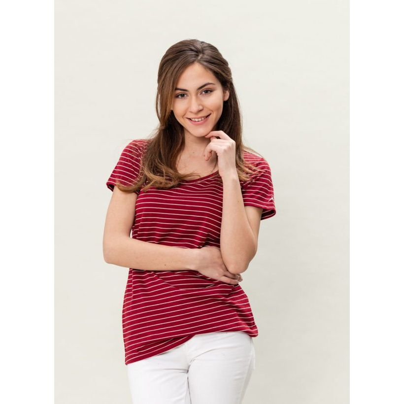 205b801cde748f Damenmode    Shirts    Damen gestreiftes T-Shirt - burgundy white